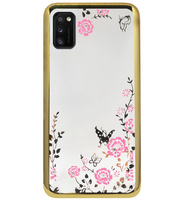 ADEL Siliconen Back Cover Softcase Hoesje voor Samsung Galaxy A41 - Glimmend Glitter Vlinder Bloemen Goud