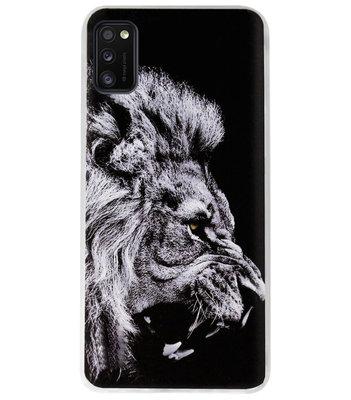 ADEL Siliconen Back Cover Softcase Hoesje voor Samsung Galaxy A41 - Leeuw Zwart
