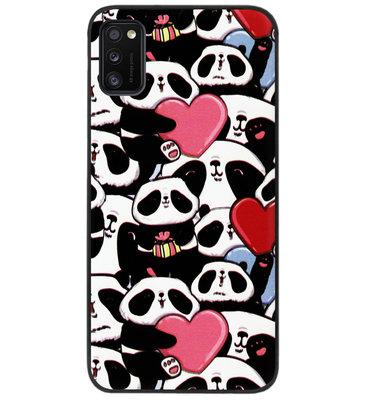ADEL Siliconen Back Cover Softcase Hoesje voor Samsung Galaxy A41 - Panda Hartjes