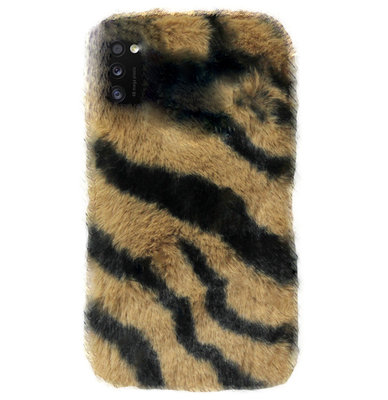 ADEL Siliconen Back Cover Softcase Hoesje voor Samsung Galaxy A41 - Luipaard Fluffy Bruin