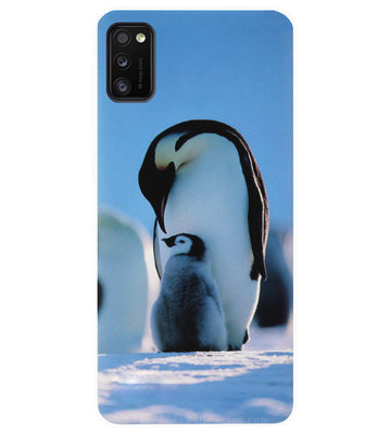 ADEL Siliconen Back Cover Softcase Hoesje voor Samsung Galaxy A41 - Pinguin Blauw