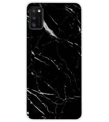 ADEL Siliconen Back Cover Softcase Hoesje voor Samsung Galaxy A41 - Marmer Zwart