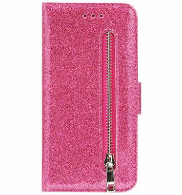 ADEL Kunstleren Book Case Pasjes Portemonnee Hoesje voor Samsung Galaxy A41 - Bling Bling Glitter Roze