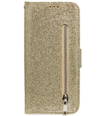 ADEL Kunstleren Book Case Pasjes Portemonnee Hoesje voor Samsung Galaxy A41 - Bling Bling Glitter Goud