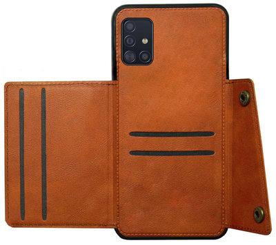 ADEL Kunstleren Back Cover Pasjeshouder Hoesje voor Samsung Galaxy A71 - Bruin