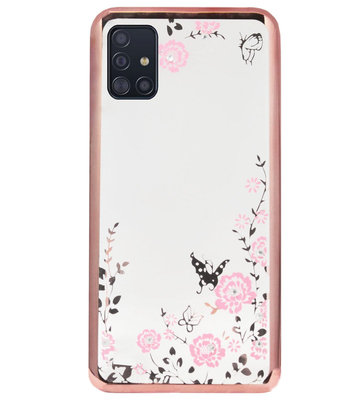 ADEL Siliconen Back Cover Softcase Hoesje voor Samsung Galaxy A71 - Glimmend Glitter Vlinder Bloemen Roze