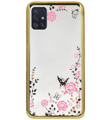 ADEL Siliconen Back Cover Softcase Hoesje voor Samsung Galaxy A71 - Glimmend Glitter Vlinder Bloemen Goud