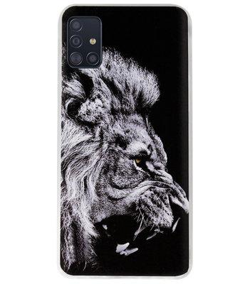 ADEL Siliconen Back Cover Softcase Hoesje voor Samsung Galaxy A71 - Leeuw Zwart