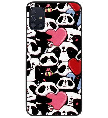 ADEL Siliconen Back Cover Softcase Hoesje voor Samsung Galaxy A71 - Panda Hartjes