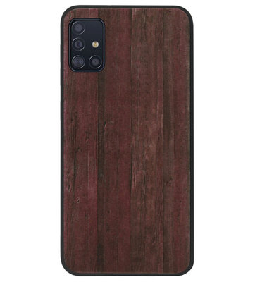 ADEL Siliconen Back Cover Softcase Hoesje voor Samsung Galaxy A71 - Hout Design Bruin