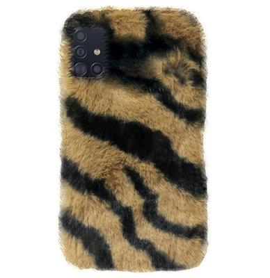 ADEL Siliconen Back Cover Softcase Hoesje voor Samsung Galaxy A71 - Luipaard Fluffy Bruin