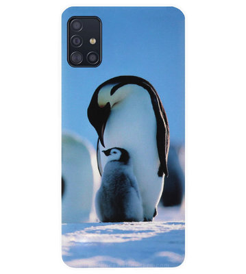 ADEL Siliconen Back Cover Softcase Hoesje voor Samsung Galaxy A71 - Pinguin Blauw