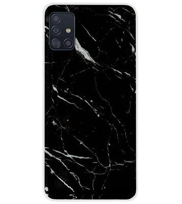 ADEL Siliconen Back Cover Softcase Hoesje voor Samsung Galaxy A71 - Marmer Zwart