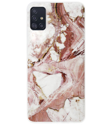 ADEL Siliconen Back Cover Softcase Hoesje voor Samsung Galaxy A71 - Marmer Rood