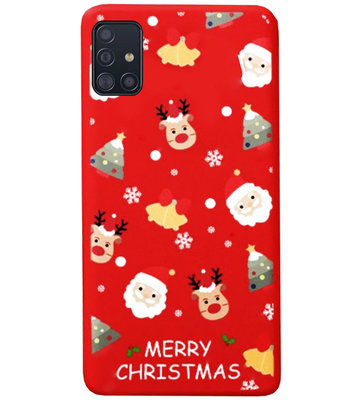 ADEL Siliconen Back Cover Softcase Hoesje voor Samsung Galaxy A71 - Kerstmis Rood