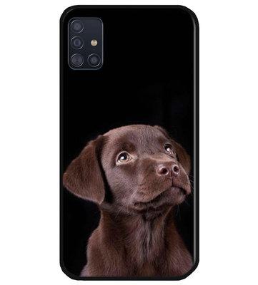 ADEL Siliconen Back Cover Softcase Hoesje voor Samsung Galaxy A71 - Labrador Retriever Hond Bruin