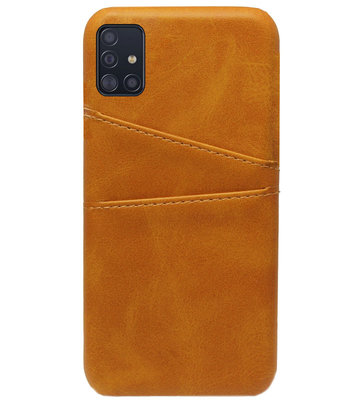 ADEL Kunstleren Back Cover Pasjes Hoesje voor Samsung Galaxy A71 - Bruin