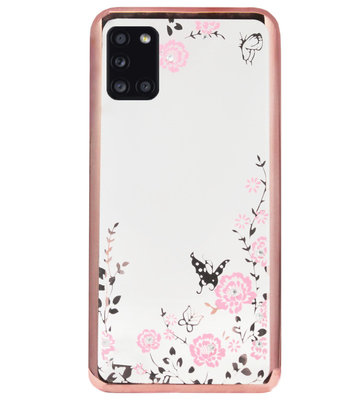 ADEL Siliconen Back Cover Softcase Hoesje voor Samsung Galaxy A31 - Glimmend Glitter Vlinder Bloemen Roze