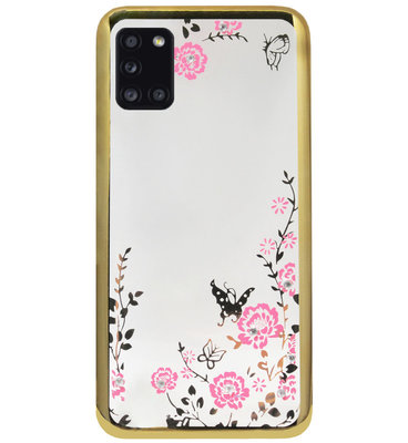 ADEL Siliconen Back Cover Softcase Hoesje voor Samsung Galaxy A31 - Glimmend Glitter Vlinder Bloemen Goud