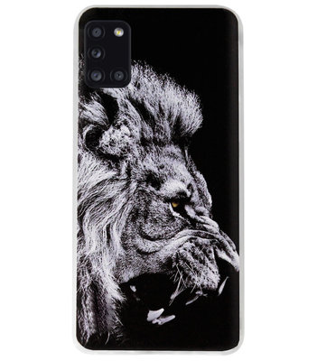 ADEL Siliconen Back Cover Softcase Hoesje voor Samsung Galaxy A31 - Leeuw Zwart