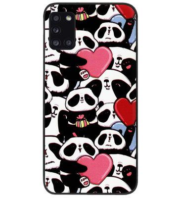 ADEL Siliconen Back Cover Softcase Hoesje voor Samsung Galaxy A31 - Panda Hartjes