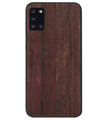 ADEL Siliconen Back Cover Softcase Hoesje voor Samsung Galaxy A31 - Hout Design Bruin