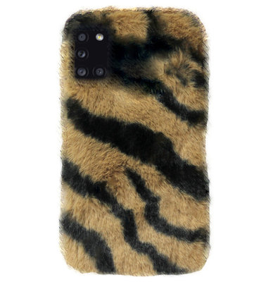 ADEL Siliconen Back Cover Softcase Hoesje voor Samsung Galaxy A31 - Luipaard Fluffy Bruin