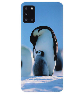 ADEL Siliconen Back Cover Softcase Hoesje voor Samsung Galaxy A31 - Pinguin Blauw