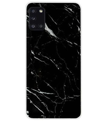 ADEL Siliconen Back Cover Softcase Hoesje voor Samsung Galaxy A31 - Marmer Zwart