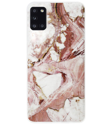 ADEL Siliconen Back Cover Softcase Hoesje voor Samsung Galaxy A31 - Marmer Rood