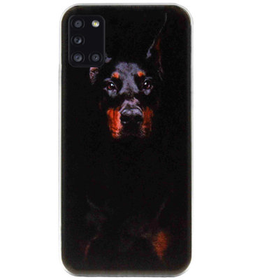 ADEL Siliconen Back Cover Softcase Hoesje voor Samsung Galaxy A31 - Dobermann Pinscher Hond