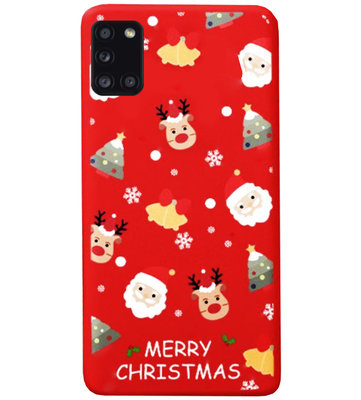 ADEL Siliconen Back Cover Softcase Hoesje voor Samsung Galaxy A31 - Kerstmis Rood