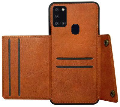 ADEL Kunstleren Back Cover Pasjeshouder Hoesje voor Samsung Galaxy A21s - Bruin