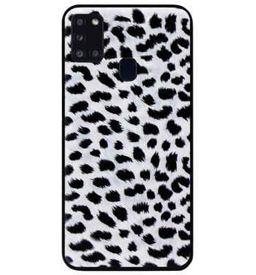 ADEL Siliconen Back Cover Softcase Hoesje voor Samsung Galaxy A21s - Luipaard Wit