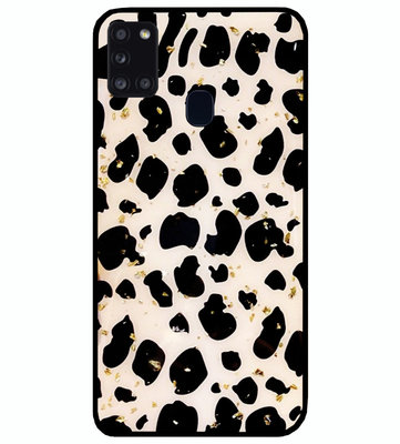 ADEL Siliconen Back Cover Softcase Hoesje voor Samsung Galaxy A21s - Luipaard Bling Glitter