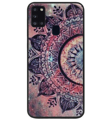 ADEL Siliconen Back Cover Softcase Hoesje voor Samsung Galaxy A21s - Mandala Bloemen Rood