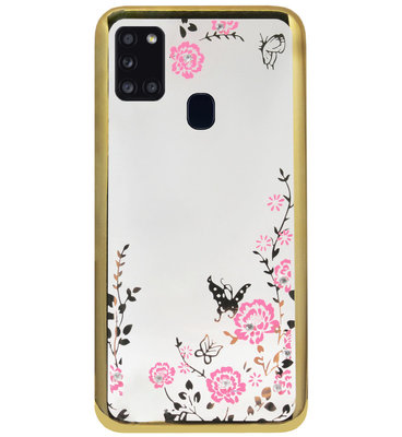 ADEL Siliconen Back Cover Softcase Hoesje voor Samsung Galaxy A21s - Glimmend Glitter Vlinder Bloemen Goud