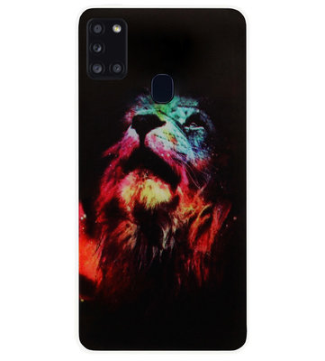 ADEL Siliconen Back Cover Softcase Hoesje voor Samsung Galaxy A21s - Leeuw