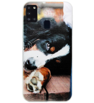 ADEL Siliconen Back Cover Softcase Hoesje voor Samsung Galaxy A21s - Berner Sennenhond