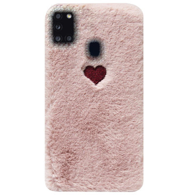 ADEL Siliconen Back Cover Softcase Hoesje voor Samsung Galaxy A21s - Hartjes Roze