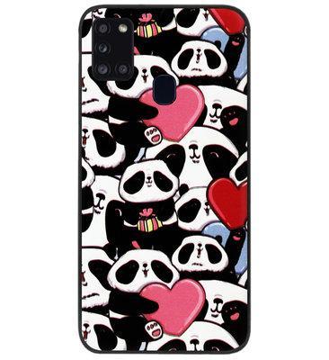 ADEL Siliconen Back Cover Softcase Hoesje voor Samsung Galaxy A21s - Panda Hartjes