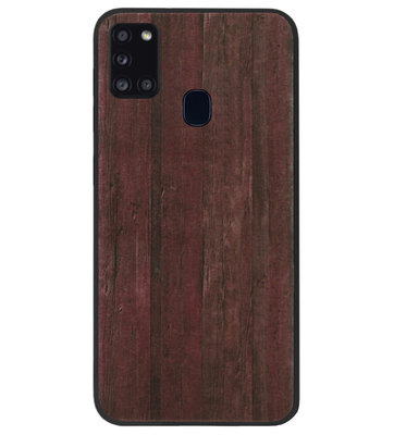 ADEL Siliconen Back Cover Softcase Hoesje voor Samsung Galaxy A21s - Hout Design Bruin