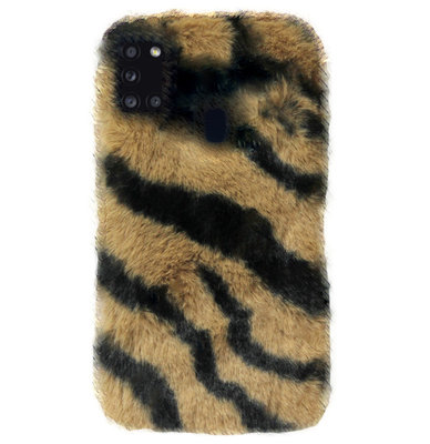 ADEL Siliconen Back Cover Softcase Hoesje voor Samsung Galaxy A21s - Luipaard Fluffy Bruin