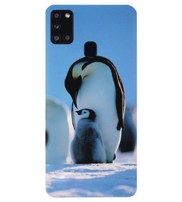 ADEL Siliconen Back Cover Softcase Hoesje voor Samsung Galaxy A21s - Pinguin Blauw