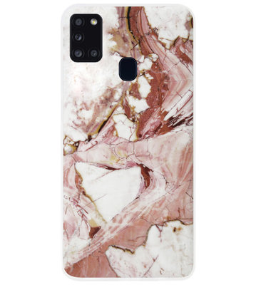 ADEL Siliconen Back Cover Softcase Hoesje voor Samsung Galaxy A21s - Marmer Rood
