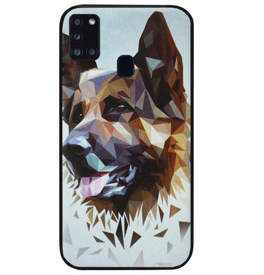 ADEL Siliconen Back Cover Softcase Hoesje voor Samsung Galaxy A21s - Duitse Herder Hond