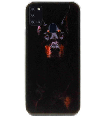ADEL Siliconen Back Cover Softcase Hoesje voor Samsung Galaxy A21s - Dobermann Pinscher Hond