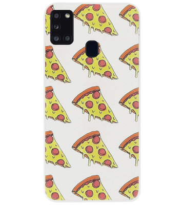 ADEL Siliconen Back Cover Softcase Hoesje voor Samsung Galaxy A21s - Junkfood Pizza