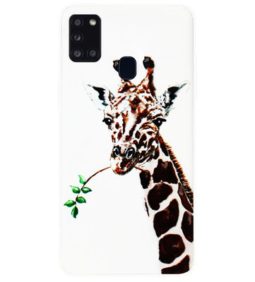 ADEL Siliconen Back Cover Softcase Hoesje voor Samsung Galaxy A21s - Giraf