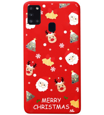 ADEL Siliconen Back Cover Softcase Hoesje voor Samsung Galaxy A21s - Kerstmis Rood